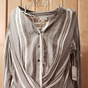 Women Blouse Long Sleeve Strip White and Gray